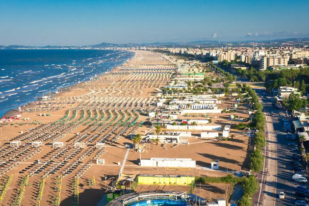 Aerial view on Rimini beach, Italy. Sea vacation in Rimini. Summer rest in
