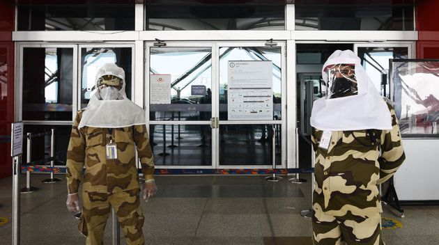 CISF personnel seen wearing protective headgear at Terminal 3 of IGI Airport on May 10, 2020 in New