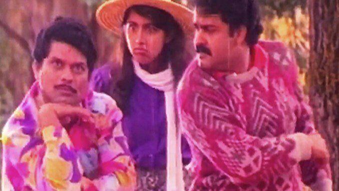 Jagathy Sreekumar and Revathy with Mohanlal in 'Kilukkam'