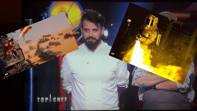 Le candidat de Top Chef Adrien Cachot a enflammé les téléspectateurs à l'aide d'un flambadou