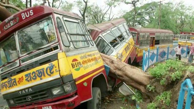 Un bus endommagé par la chute d'un arbre causée par le cyclone, à Calcutta ce 21