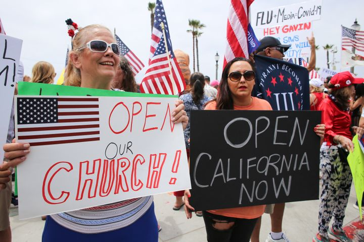 California residents staged a protest at Huntington Beach on May 9, 2020, to demand the reopening of the state's churches and