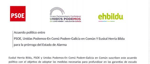 Pacto entre PSOE, UP y EH
