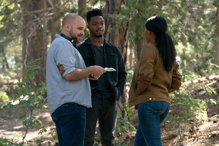 "Kyle Patrick Alvarez, Stephan James and Janelle Monáe on the set of ""Homecoming."""