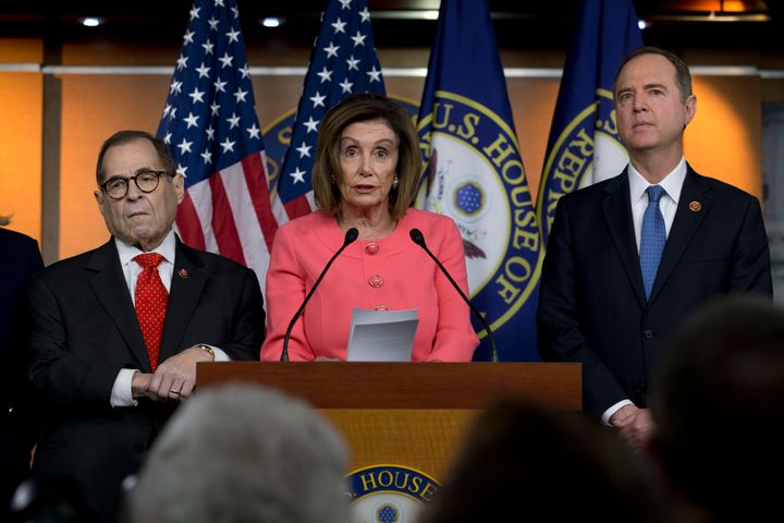 Speaker of the House Nancy Pelosi (D-Calif.), accompanied by House Judiciary Committee Chairman Rep. Jerrold Nadler (D-N.Y.)
