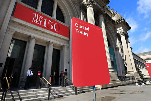 A closed sign is seen outside of The Metropolitan Museum of Art on March 13 in New York City. Due...