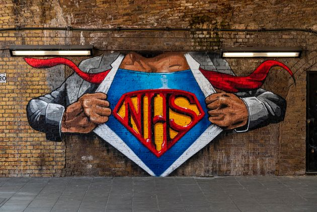 Lionel Stanhope's reworked mural on Cornwall Road under Waterloo East station in London paying tribute...