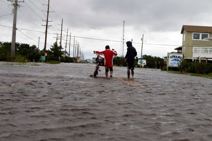 A flooded street in North Carolina during 2019's Hurricane Dorian, a devastating Category 5 storm.