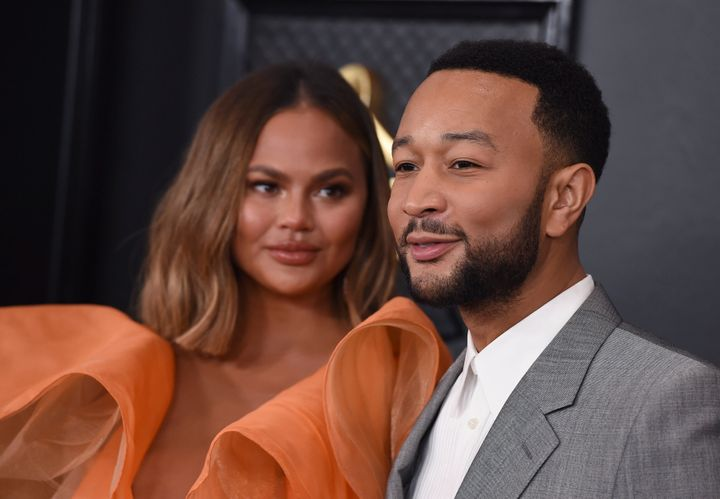Teigen and Legend arrive at the 62nd annual Grammy Awards at the Staples Center on Jan. 26 in Los Angeles.