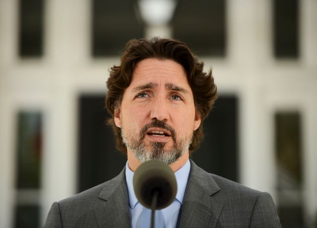 Prime Minister Justin Trudeau holds a press conference at Rideau Cottage amid the COVID-19 pandemic in...