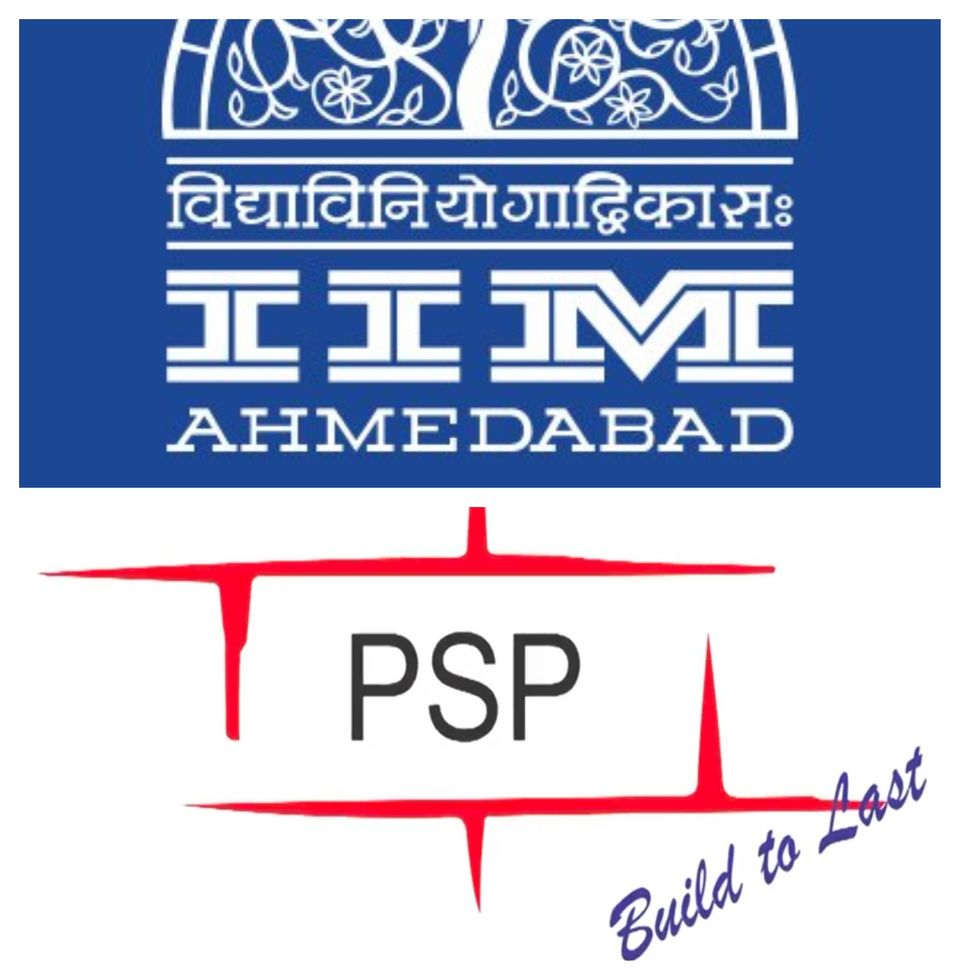 Collage of brand logos of the IIM-A (in blue) and PSP Projects Ltd (in red and black). The contractor...