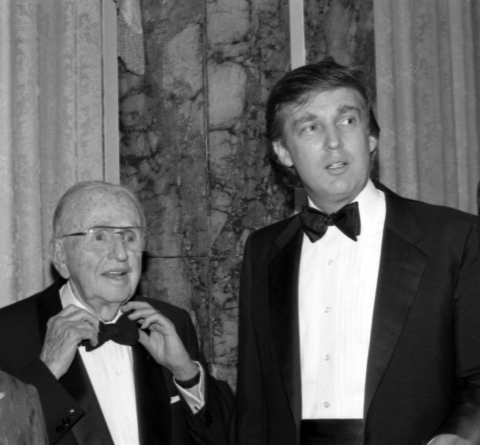 Donald Trump and Norman Vincent Peale at the latter's 90th birthday celebration at New York's Waldorf Astoria Hotel in May 19