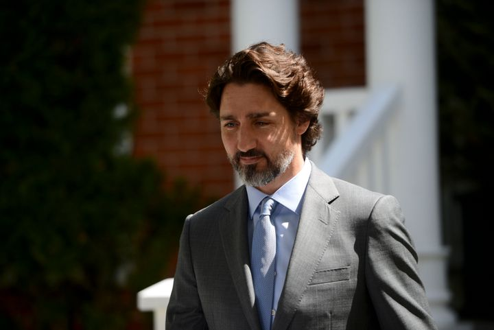 Prime Minister Justin Trudeau holds a press conference at Rideau Cottage amid the COVID-19 pandemic in Ottawa on May 21, 2020.