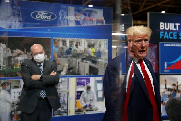 Donald Trump speaks as he tours Ford's Rawsonville Components Plant that has been converted to making...