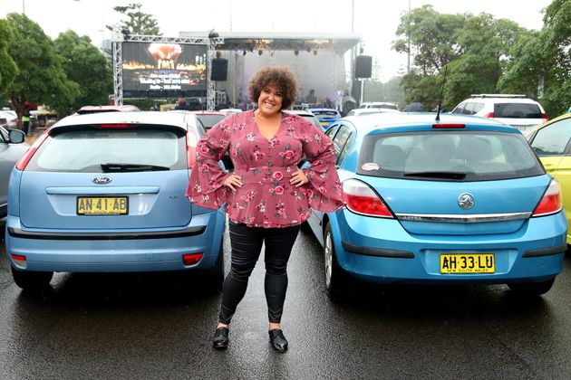SYDNEY, AUSTRALIA - MAY 21: Casey Donovan poses during a media call to showcase how a drive-in live entertainment...