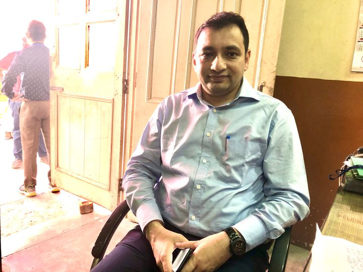 Additional District Magistrate Arun Gupta at the medical screening centre set up for migrant workers at Chhatarpur.