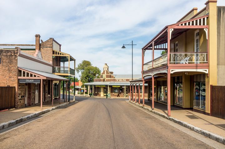 Gulgong, Australia - January 3, 2012: Heritage streetscape of Gulgong, a 19th-century gold rush town in the Mudgee wine region of NSW, Australia