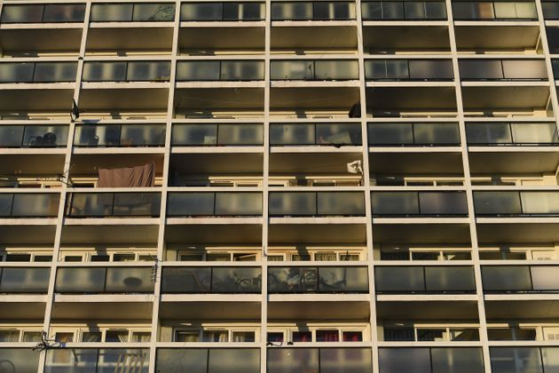 Empty balconies on Brixton's Loughborough estate during Thursday's nationwide Clap for