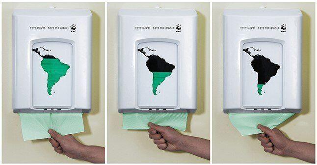 넛지 디자인을 활용해 화장지 절약을 유도하는 국제야생동물기금의 화장지