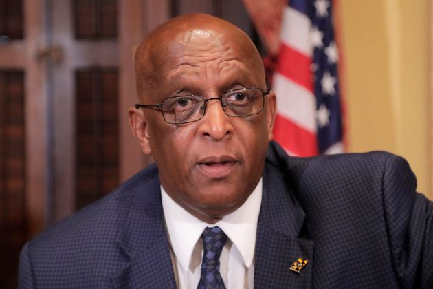 "Baltimore Mayor Bernard ""Jack"" Young is urging President Donald Trump to cancel his scheduled..."