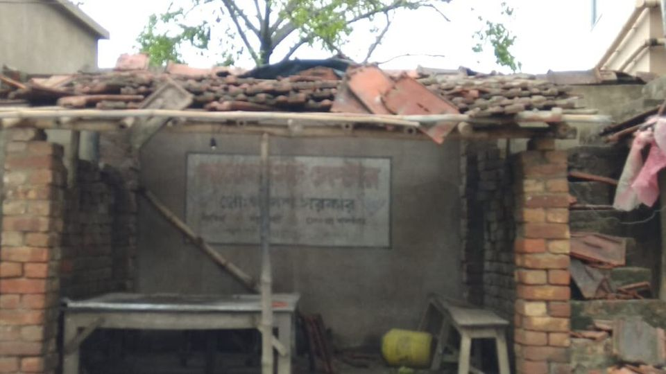 A ravaged hut in the