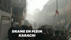 Un avion de ligne s'écrase en plein quartier résidentiel à Karachi, 97 morts et deux