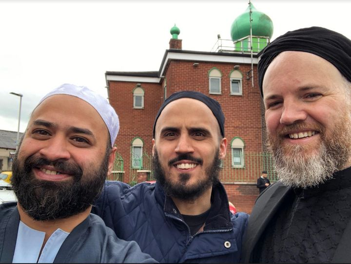 Ali Amla at a previous Eid outside the mosque with friends Lutfi Lee Gajjar and Zakariya Hill