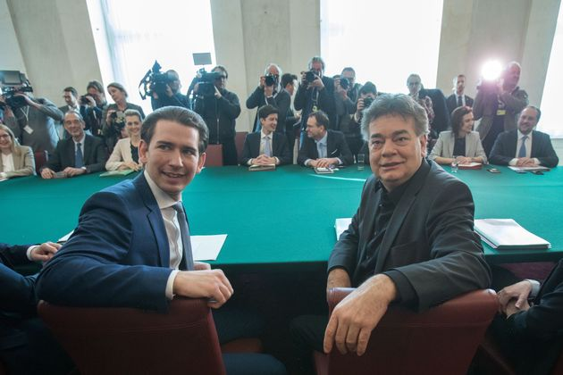 Chancellor Sebastian Kurz (L, OeVP) and Vice Chancellor Werner Kogler (R, Green) (Photo by ALEX HALADA/AFP...