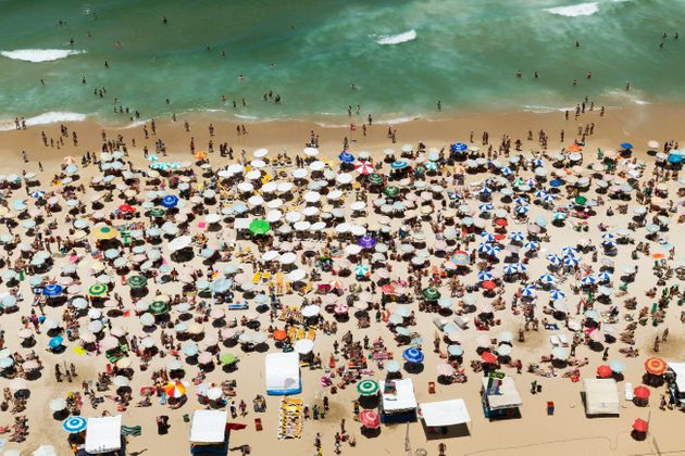 Aerial view of crowded beach of Ipanema, Rio De Janeiro,