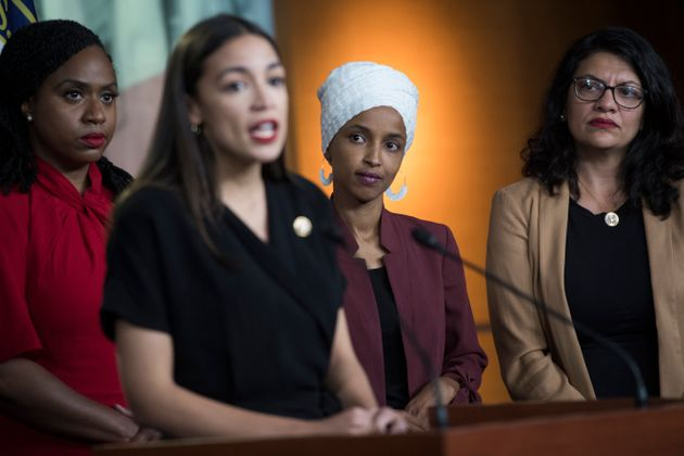 The Squad, from left: Reps. Ayanna Pressley (D-Mass.), Alexandria Ocasio-Cortez (D-N.Y.), Ilhan Omar...