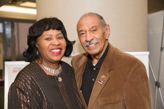 Detroit City Council President Brenda Jones poses with then-Rep. John Conyers Jr. (D-Mich.) in April...
