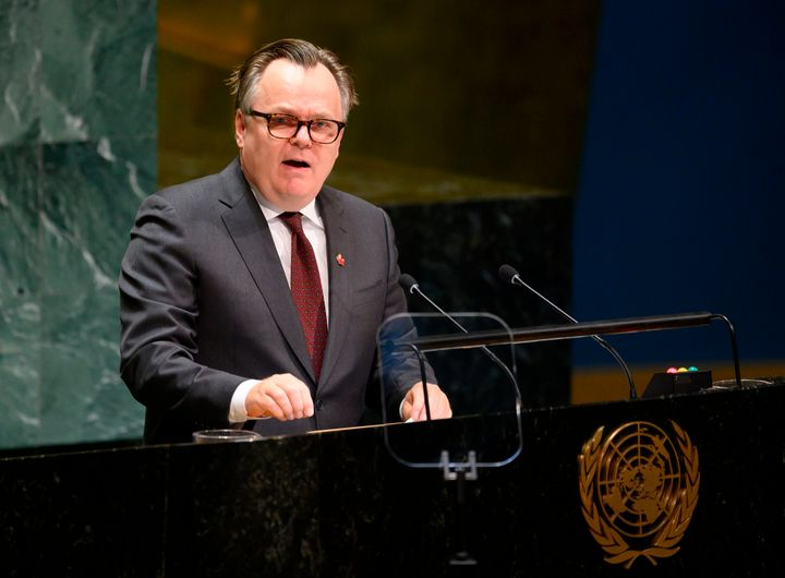 Canada's Ambassador and Permanent Representative to the United Nations Marc-Andre Blanchard speaks during General debate of the 74th session of the United Nations General Assembly on Sept. 30, 2019 at the United Nations Headquarters in New York City.