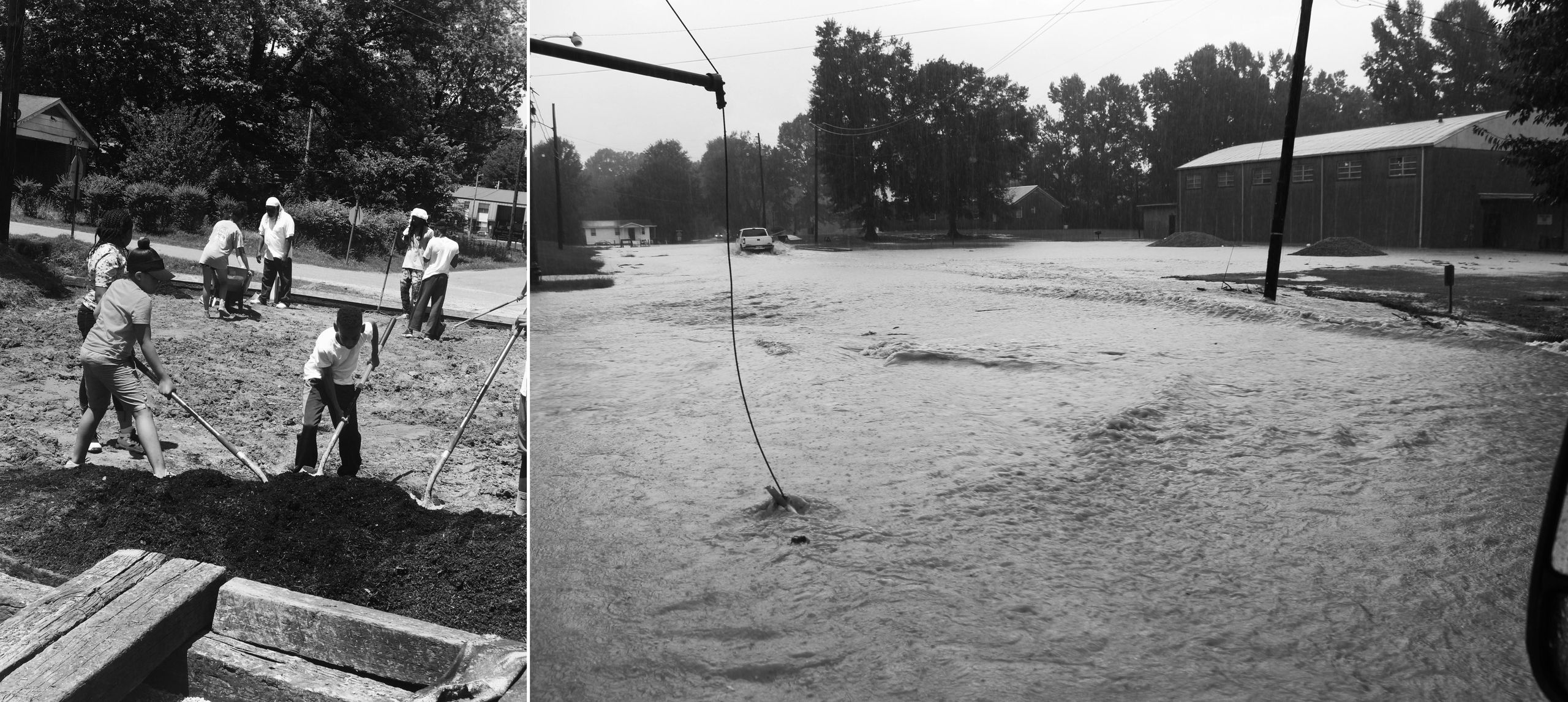 Right: A street in the town looked like after a storm before it had an updated drainage system. Left: Kids in Creek Rangers h