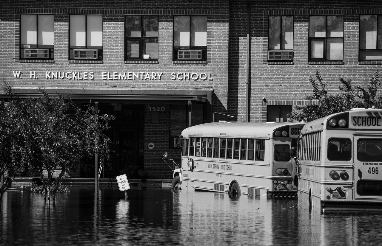 An elementary school in in Lumberton, North Carolina, is inundated with floodwaters from the Lumber River on Oct. 12, 2016.