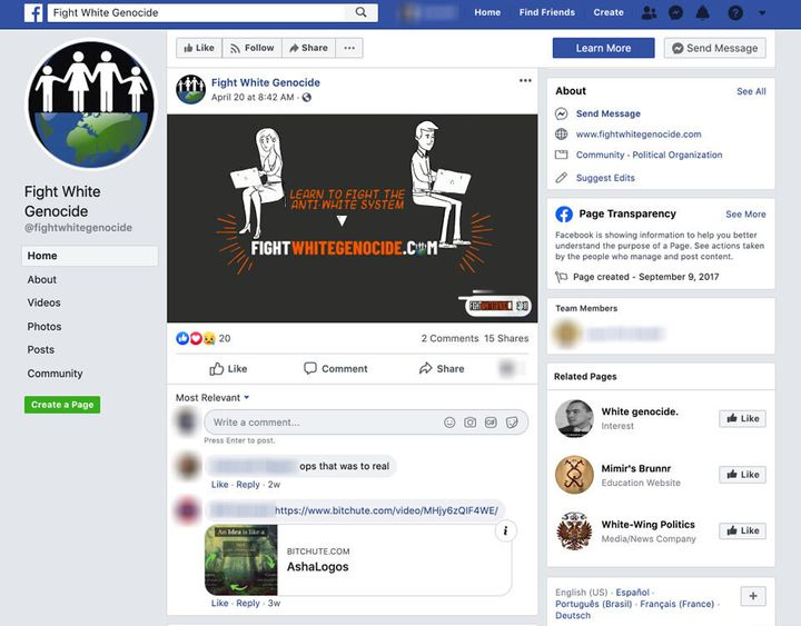 A screenshot of a white supremacist group's Facebook page from the study by the Tech Transparency Project.