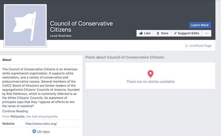 A screenshot showing another auto-generated white supremacist page.