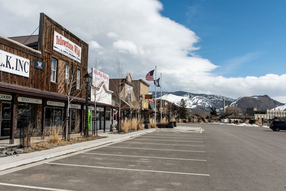 Closed tourist shops in Garidiner, Montana, at the north entrance to Yellowstone on March