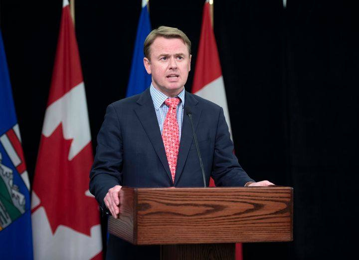 Alberta Health Minister Tyler Shandro speaks during a press conference in Edmonton on April 24, 2020.
