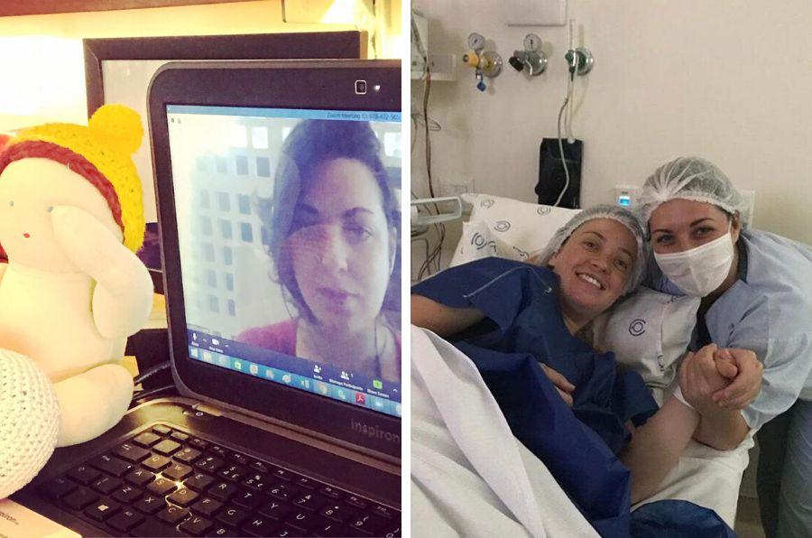 Nathalia Duarte, durante atendimento virtual (à esq.) e em parto realizado em maternidade particular...