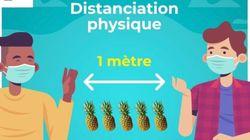 Respecter la distanciation sociale avec des ananas? Cette affiche de la préfecture de Martinique
