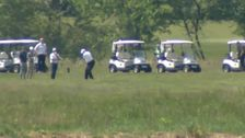 Trump Plays Golf As Coronavirus Death Toll Nears 100,000 In US