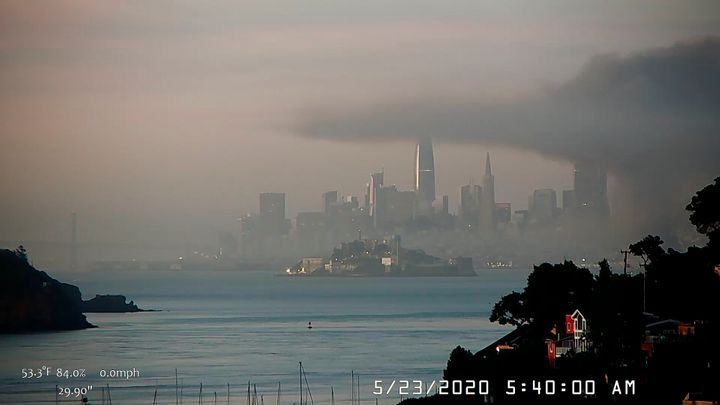 This photo provided by National Weather Service San Francisco Bay Area, smoky conditions linger after a fire broke out before