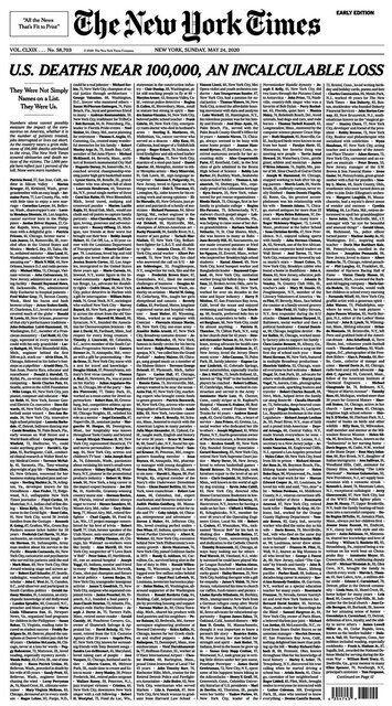 ニューヨーク・タイムズ紙が公開した24日付の1面=フェイスブックから