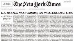 Coronavirus verso quota 100mila morti, la prima pagina del New York Times è di grande