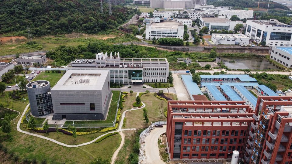 This aerial view shows Wuhan Institute of Virology in Wuhan in China's central Hubei