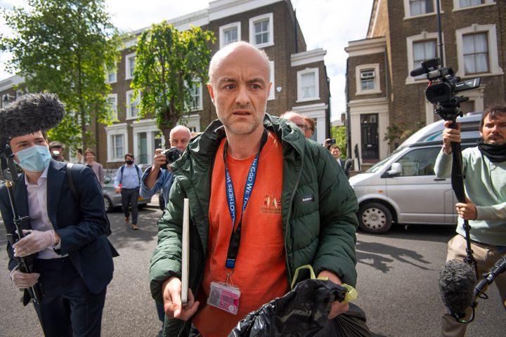 Britain's Prime Minister Boris Johnson's senior aid Dominic Cummings leaves his home, in London, Sunday, May 24, 2020. (Victo