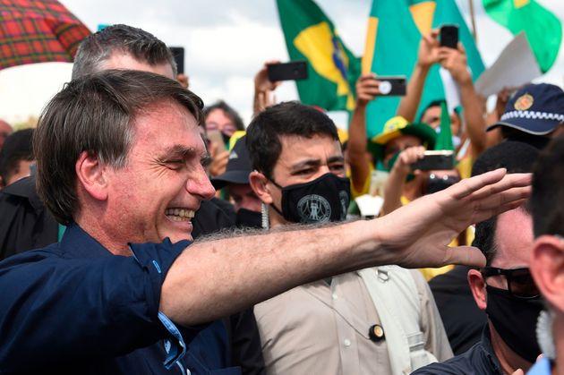 Presidente Jair Bolsonaro tem marcado presença em protestos antidemocráticos em meio à...