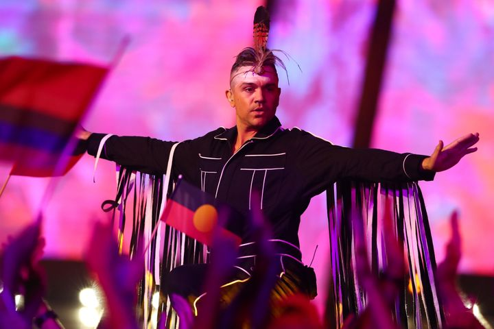 Mitch Tambo performs during Eurovision - Australia Decides at Gold Coast Convention and Exhibition Centre on February 08, 2020 in Gold Coast, Australia.