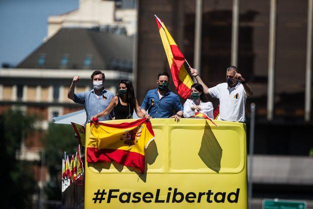 La cúpula de Vox durante la manifestación promovida por este partido contra el