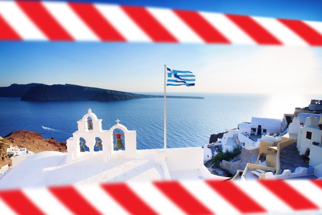 Greek flag and Greece skyline with warning tape. Covid-19 quarantine